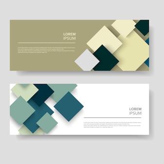 Quadrados abstratos modernos banner conjunto