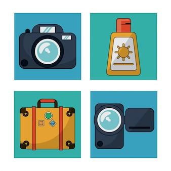 Quadrados coloridos com utilidades para viajar