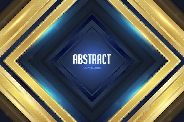 Quadrados geométricos abstratos com fundo azul dourado