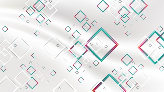 Quadrados geométricos vermelhos e verdes do inclinação abstrato e quadrado branco no fundo branco da seda da tela.