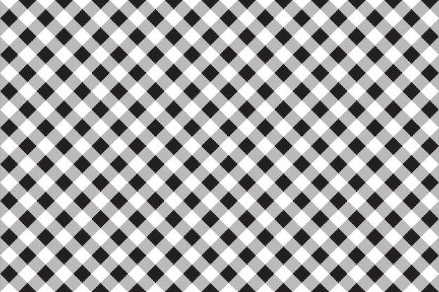 Quadriculado branco preto verificar diagonal sem costura fundo