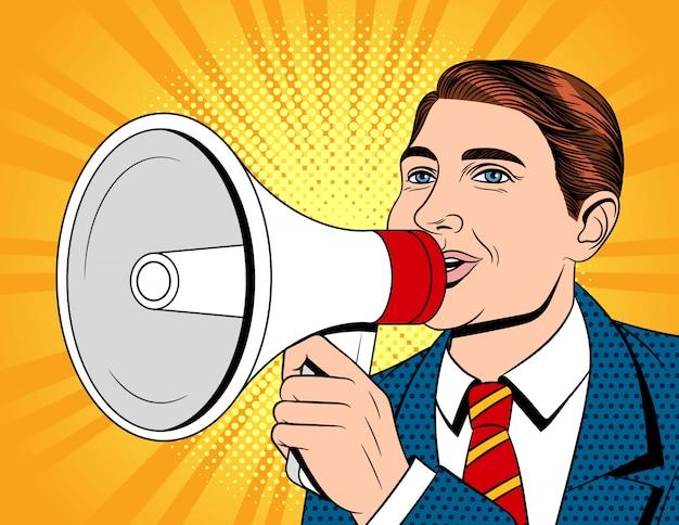Quadrinhos coloridos estilo ilustração de um empresário com um bocal na mão. retrato de um jovem bonitão de terno com um megafone. o homem faz um anúncio ao alto-falante
