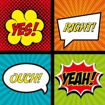 Quadrinhos conjunto bolha discurso texto gráfico