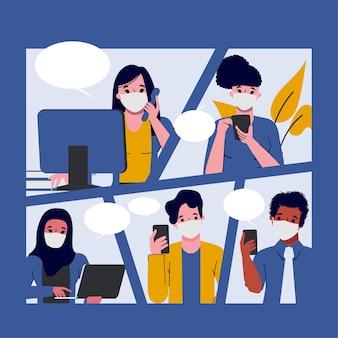Quadrinhos de empresários em cena de escritório.