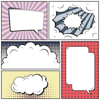 Quadrinhos de pop art com espaços em branco