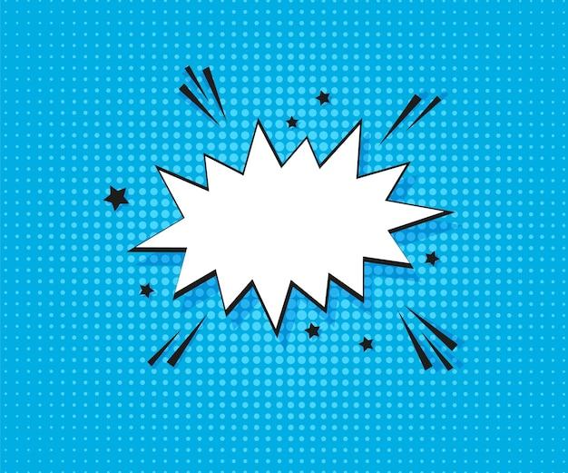 Quadrinhos de pop art. fundo pontilhado de meio-tom com bolha do discurso. desenho animado azul