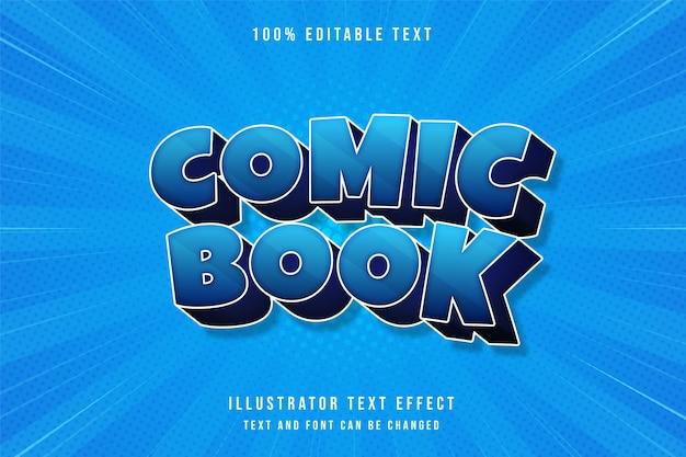 Quadrinhos, efeito de texto editável em 3d moderno gradação azul e roxo estilo de texto em quadrinhos