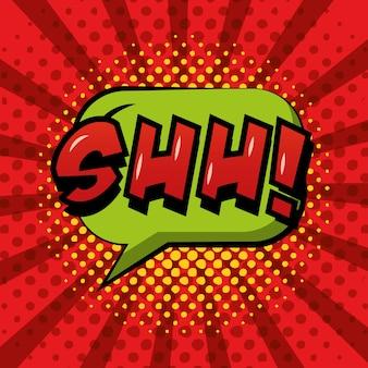 Quadrinhos pop art balão de fala shh fundo vermelho sunburst