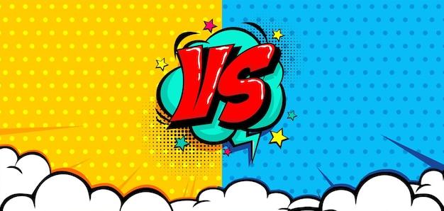 Quadrinhos pop art versus fundo com nuvem