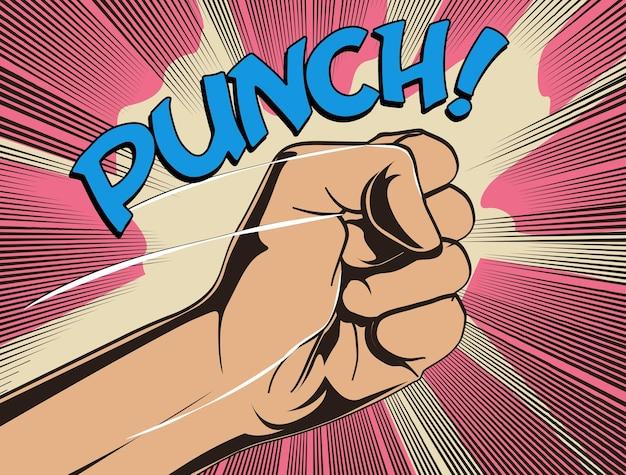 Quadrinhos punho luta soco ilustração em vetor eps 10 estilo vintage