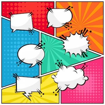 Quadrinhos specch bolhas texto em branco estilo pop art