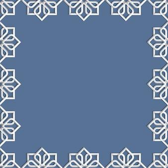 Quadro 3d abstrato islâmico - ornamento geométrico de mosaico de fundo em estilo árabe