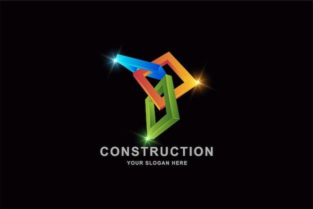 Quadro 3d quadrado ou modelo de design de logotipo de construção