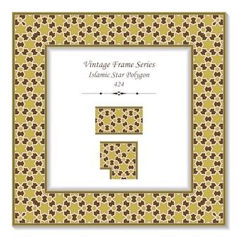 Quadro 3d vintage da cadeia de cruz poligonal estrela islâmica