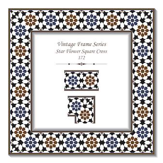 Quadro 3d vintage da cruz islâmica estrela flor quadrada