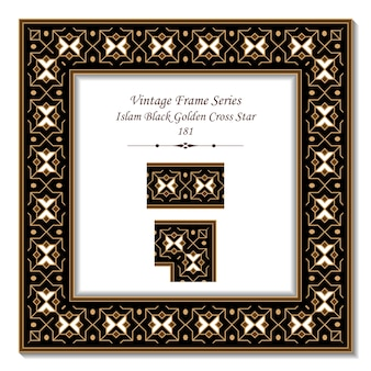 Quadro 3d vintage da estrela da cruz dourada negra do islã