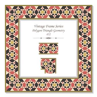 Quadro 3d vintage da geometria do triângulo do polígono