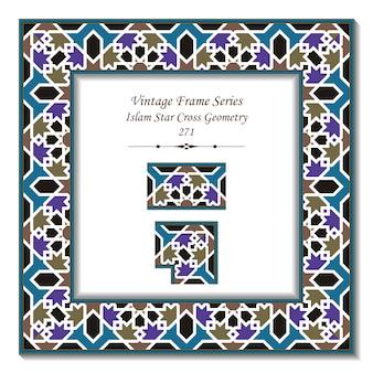 Quadro 3d vintage da geometria islâmica star cross