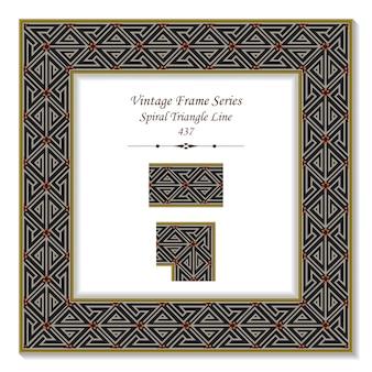 Quadro 3d vintage da linha do triângulo espiral