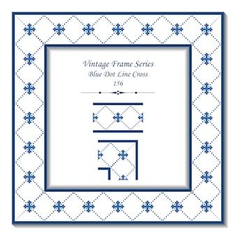 Quadro 3d vintage de blue dot line cross