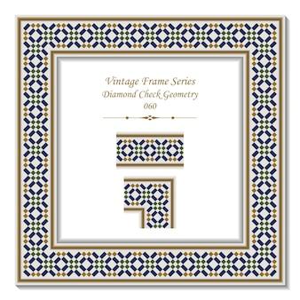 Quadro 3d vintage de diamond check geometry