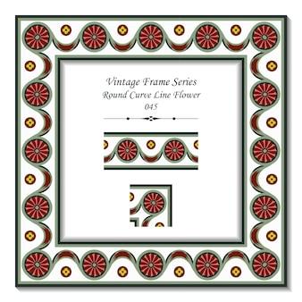 Quadro 3d vintage de flor de linha curva redonda