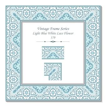 Quadro 3d vintage de flor de renda branca azul claro