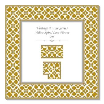 Quadro 3d vintage de flor de renda em espiral amarela
