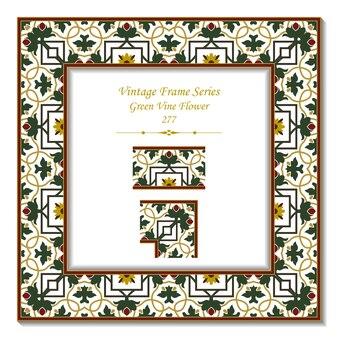 Quadro 3d vintage de flor de videira jardim verde quadrado cruz