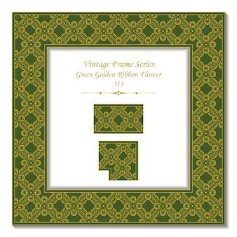 Quadro 3d vintage de flor fita dourada verde
