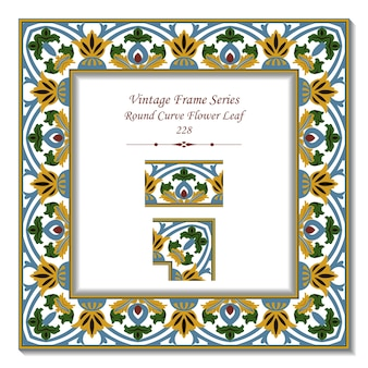 Quadro 3d vintage de folha de flor curva redonda de jardim