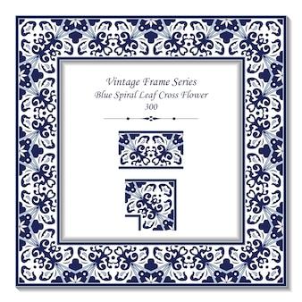 Quadro 3d vintage de retro jardim azul espiral folha cruz flor