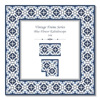 Quadro 3d vintage do garden blue flower kaleidoscope