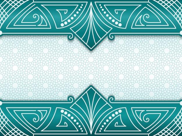 Quadro abstrato geométrico sobre fundo com ornamentos étnicos.