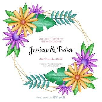 Quadro aquarela floral para convite de casamento