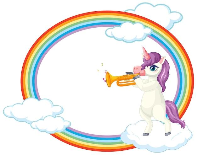 Quadro arco-íris com personagem de desenho animado de unicórnio fofo