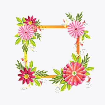 Quadro bonito das flores isolado. elemento de decoração floral colorido