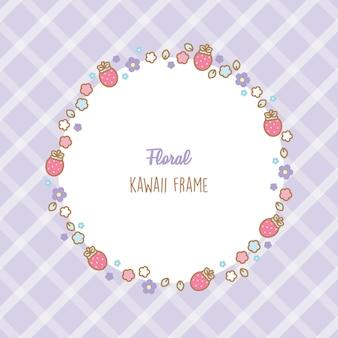 Quadro bonito de morangos e flores kawaii