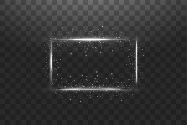 Quadro branco com efeitos de luzes. bandeira de luxo brilhante. quadro branco de linha brilhante com faíscas