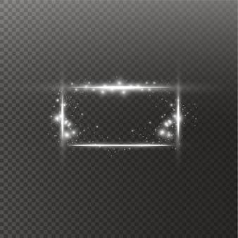 Quadro branco com efeitos de luzes. bandeira de luxo brilhante. quadro branco de linha de brilho com faíscas e luz de spot