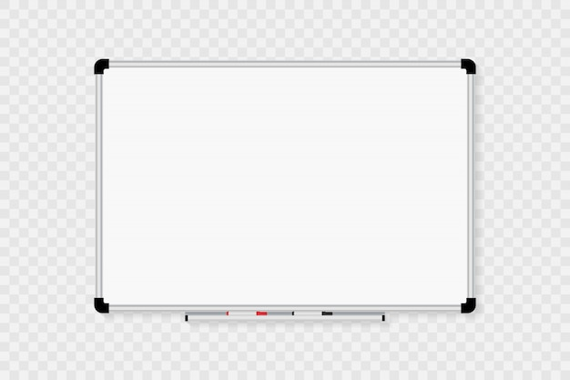 Quadro branco isolado em transparente