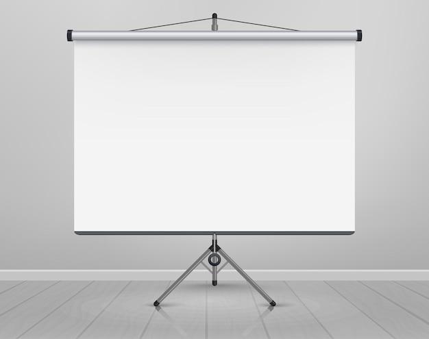 Quadro branco para marcadores no piso de madeira. apresentação, tela de projeção vazia. quadro de fundo do quadro de escritório