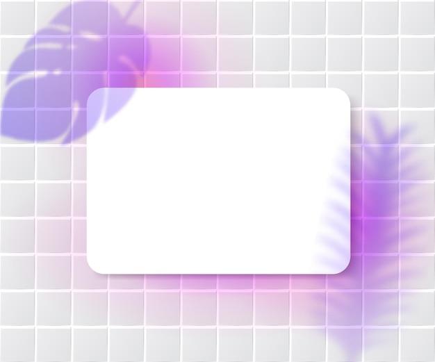 Quadro branco sobre fundo de azulejos cor de rosa e plantas deixa a sobreposição de sombra. maquete de cartão de cantos redondos, modelo de design feminino de mídia social.