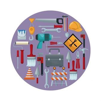 Quadro circular colorido com ícones de ferramentas de construção