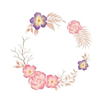 Quadro circular com guirlanda floral em aquarela colorida