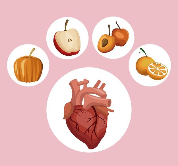 Quadro circular coração vegetais e frutas ícones de alimentos saudáveis