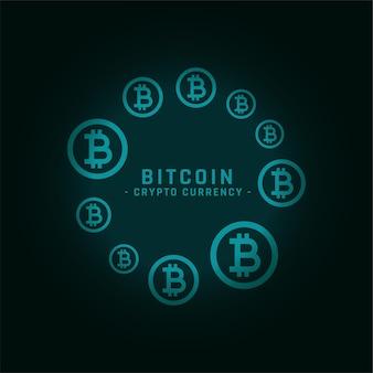 Quadro circular de bitcoins com espaço de texto
