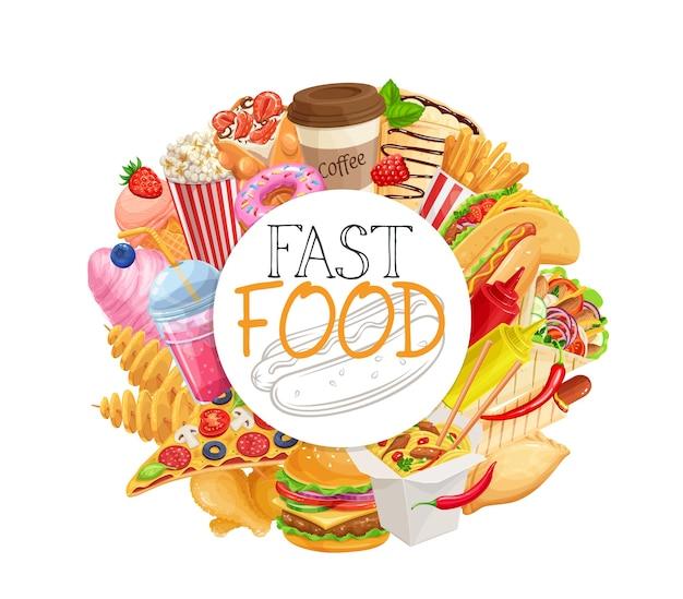 Quadro circular de fast food com ilustração realista de produtos para viagem