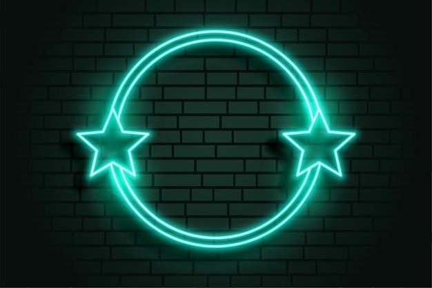 Quadro circular de néon de estrela brilhante com espaço de texto