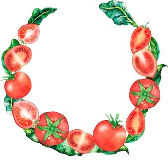 Quadro circular de tomate e folhas verdes